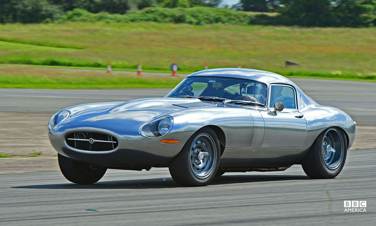 Jeremy Clarkson driving the Jag E-type Eagle Low Drag GT