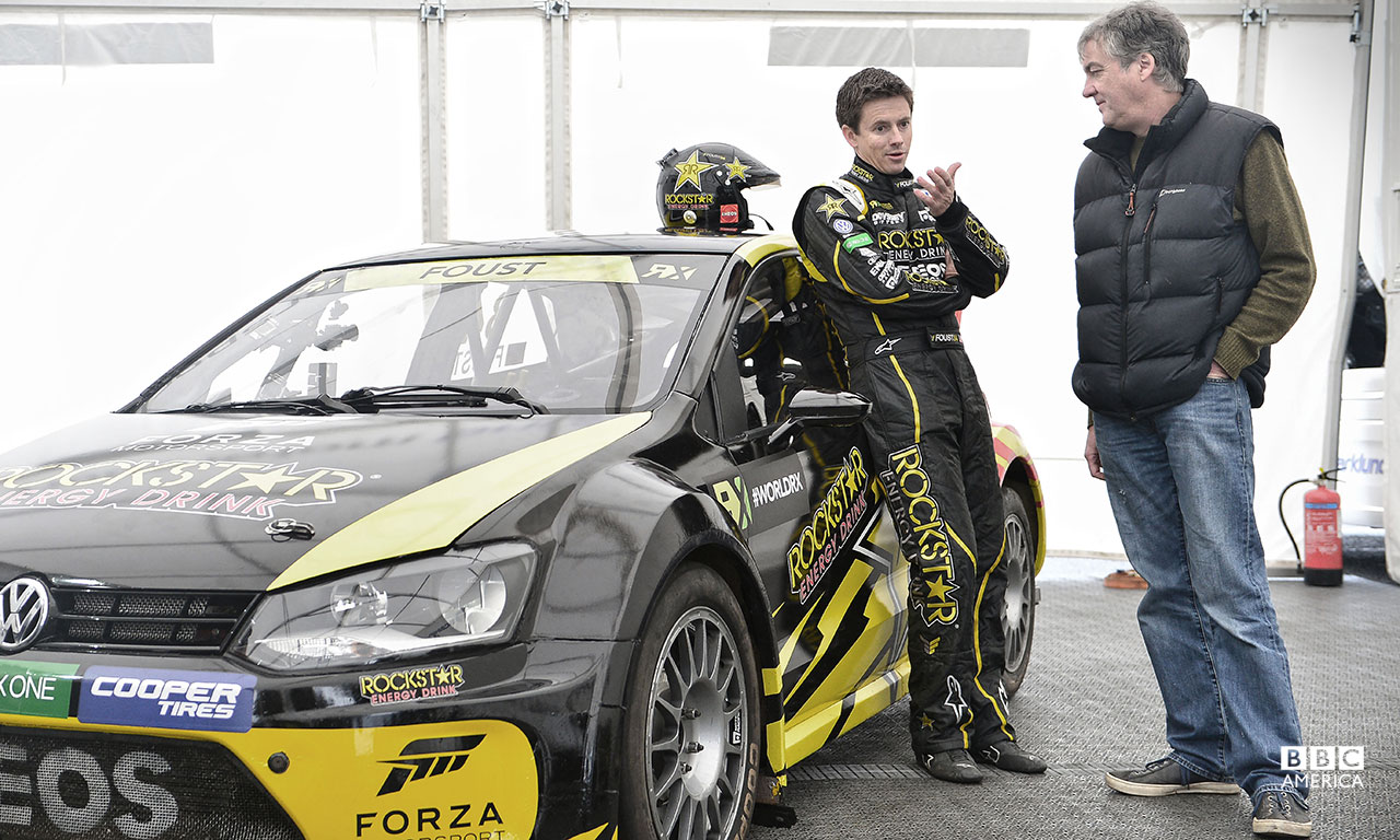 Top Gear USA host Tanner Foust, an ace Rallycross driver, teams up with James May to help save him from massive indignity.