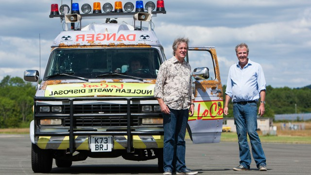 James May and Jeremy Clarkson with the Chevrolet GMC Day Van V8