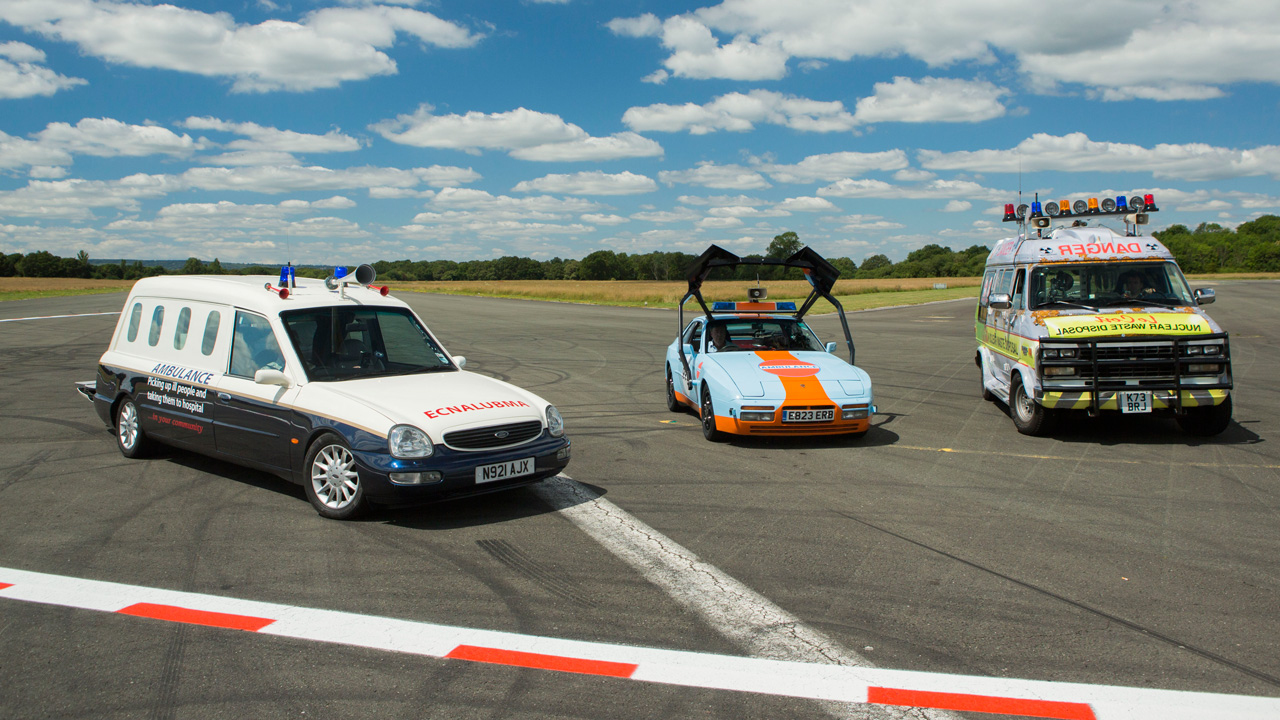 The Ford Scorpio Cardinal Hearse, the Porsche 944 Turbo, and the Chevrolet GMC Day Van V8