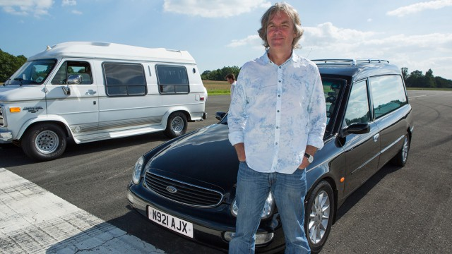 James May with the Ford Scorpio Cardinal Hearse