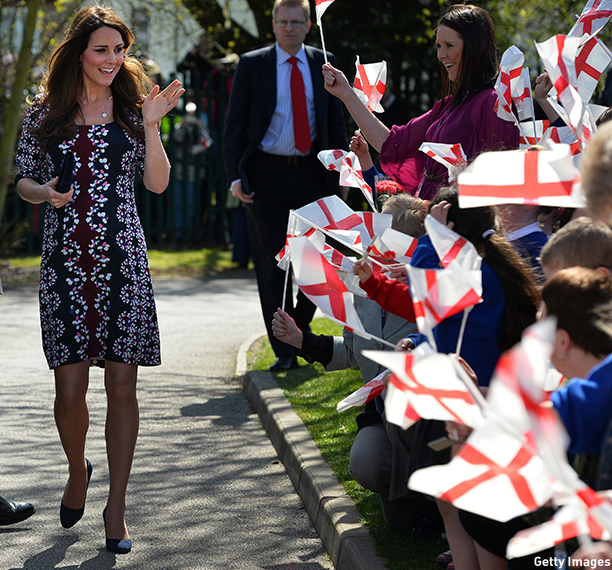 MANCHESTER, UNITED KINGDOM - APRIL 23:  Catherine, Duchess of Cambridge arrives to visit The Willows Primary School, Wythenshawe to launch a new school counseling program on April 23, 2013 in Manchester, England. The Duchess of Cambridge met staff and volunteers, teachers and parents at the school as she launched the program which is a partnership between the Royal Foundation, Comic Relief, Place2Be and Action on Addiction.  (Photo by Paul Ellis - WPA Pool/Getty Images)