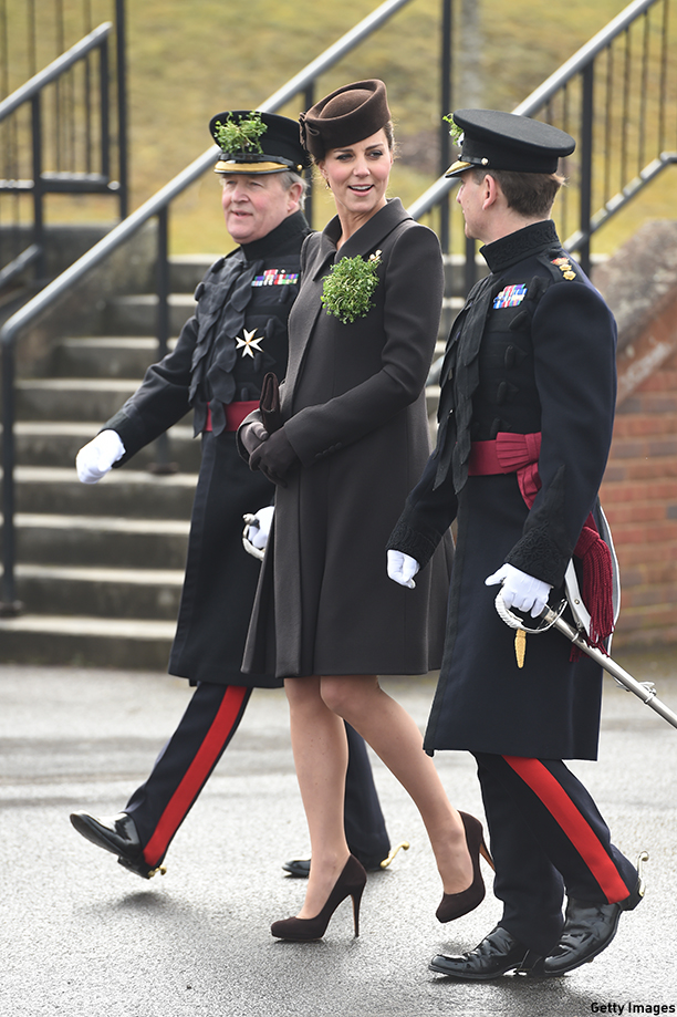 ALDERSHOT, ENGLAND - MARCH 17:  Catherine, Duchess of Cambridge attends the St Patrick's Day Parade at Mons Barracks on March 17, 2015 in Aldershot, England.  (Photo by Eddie Mulholland - WPA Pool/Getty Images)