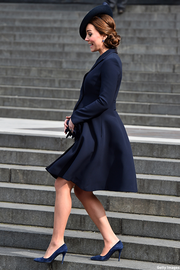 Britain's Catherine, Duchess of Cambridge, leaves St Paul's Cathedral in London on March 13, 2015, after attending a memorial service to mark the end of Britain's combat operations in Afghanistan. AFP PHOTO / BEN STANSALL        (Photo credit should read BEN STANSALL/AFP/Getty Images)