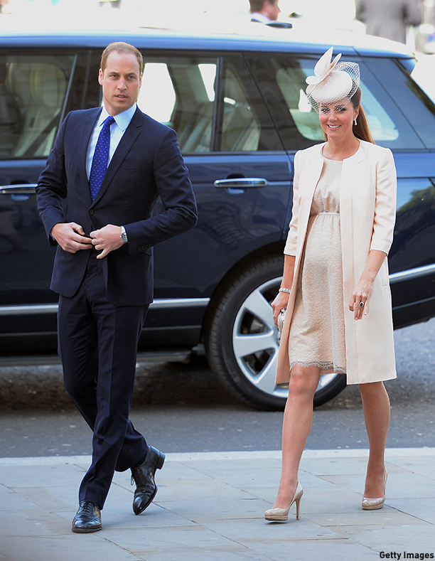 Britain's Prince William (L) and his wife Catherine, Duchess of Cambridge, arrive at Westminster Abbey in London, on June 4, 2013, for a service to celebrate the 60th anniversary of the Coronation Service. Britain's Queen Elizabeth II, now 87, took the throne on February 6, 1952 upon the death of her father king George VI, but to allow for a period of national mourning she was only crowned on June 2, 1953 in London's Westminster Abbey. AFP PHOTO/Leon Neal        (Photo credit should read LEON NEAL/AFP/Getty Images)
