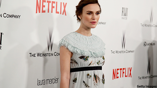 BEVERLY HILLS, CA - JANUARY 11:  Actress Keira Knightley attends The Weinstein Company & Netflix's 2015 Golden Globes After Party presented by FIJI Water, Lexus, Laura Mercier and Marie Claire at The Beverly Hilton Hotel on January 11, 2015 in Beverly Hills, California.  (Photo by Ari Perilstein/Getty Images for FIJI Water)