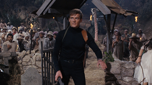Roger Moore rocked a black jumper and holster in  1973's Live and Let Die. (XX)