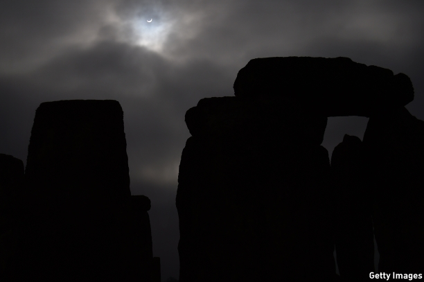 A break in the clouds enabled a view of the phenomenon over the famous Stonehenge. (Pic: Ben Stansall/AFP/Getty Images)