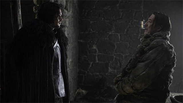 See? Very dark. Kit Harington and Ciaran Hinds in 'Game of Thrones' (Pic: Helen Sloan/HBO)