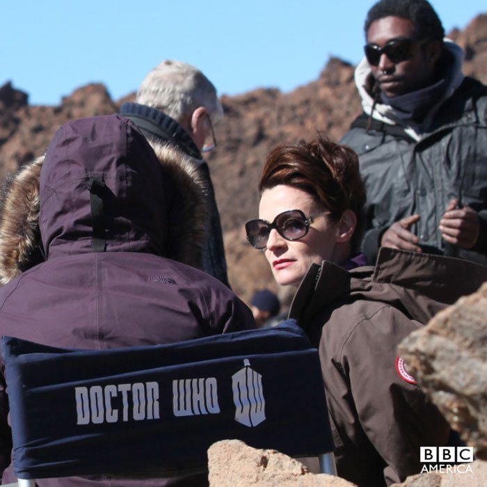 Michelle Gomez on location in Tenerife.