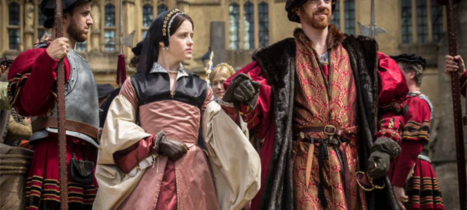 Henry VIII and Anne Boleyn pop out for a stroll in the BBC's 'Wolf Hall' (Pic: BBC)