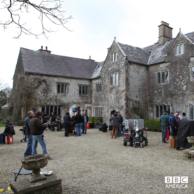 The crew setting up on location