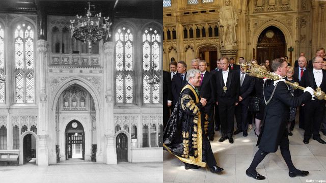 The House of Commons Members' Lobby has the same intricate architecture. Can you imagine who's walked through these halls? (Getty Images)