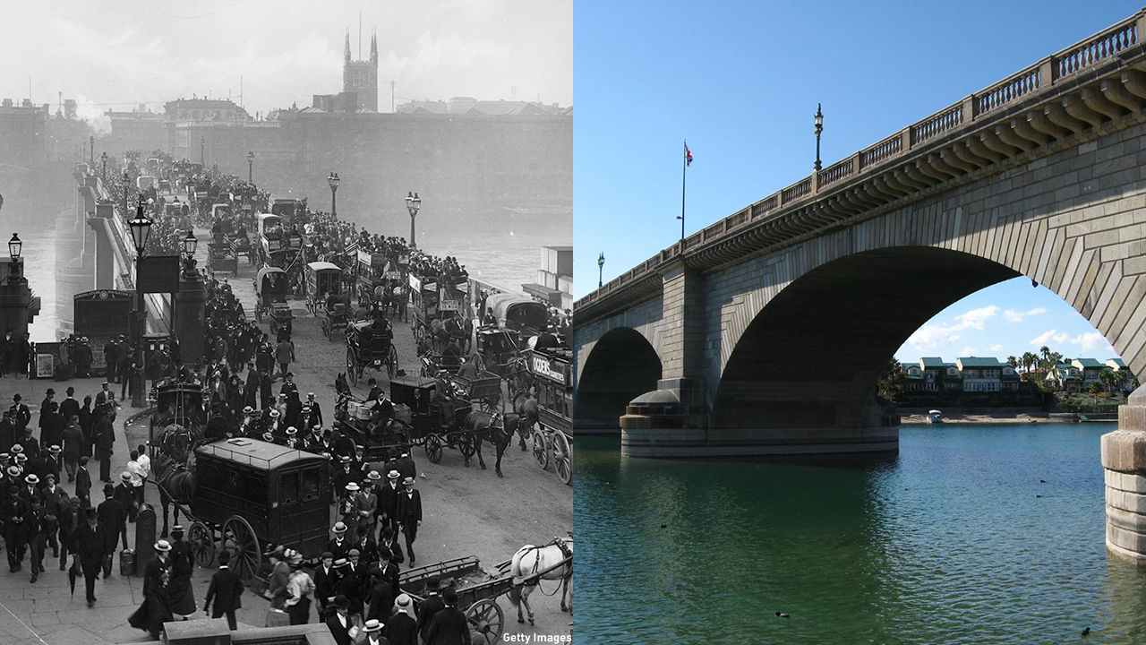 The London Bridge officially opened in 1831. It does stilll exist ... but it's been relocated to Lake Havasu City, Arizona. (Getty Images/Wiki)