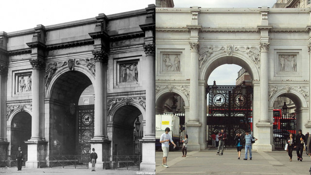 The Marble Arch looks the same ... it's the difference in fashion that caught our eye. (Getty Images/Wiki)
