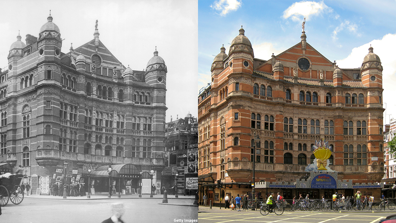 The Palace Theatre, located on Shaftesbury Ave., is still standing strong, as seen both in 1890 and current day. (Getty Images/Wiki)