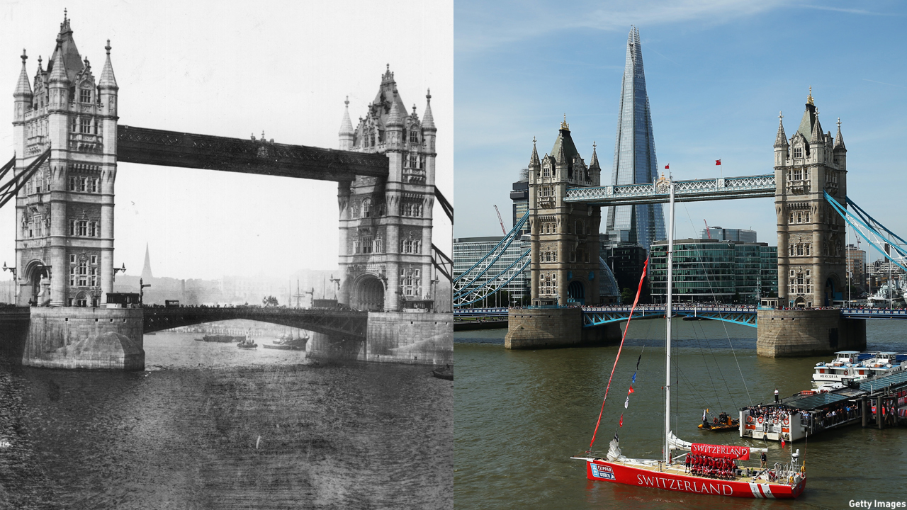 The Tower Bridge appears unaltered for the most part; it's the cityscape that's changed. (Getty Images)