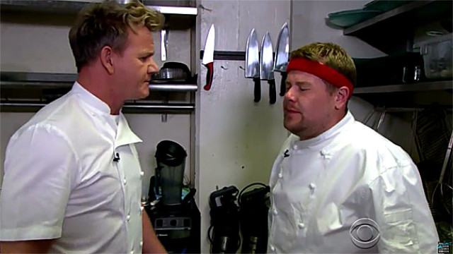 Gordon Ramsay and James Corden in 'Hell's Cafeteria' (Pic: CBS)