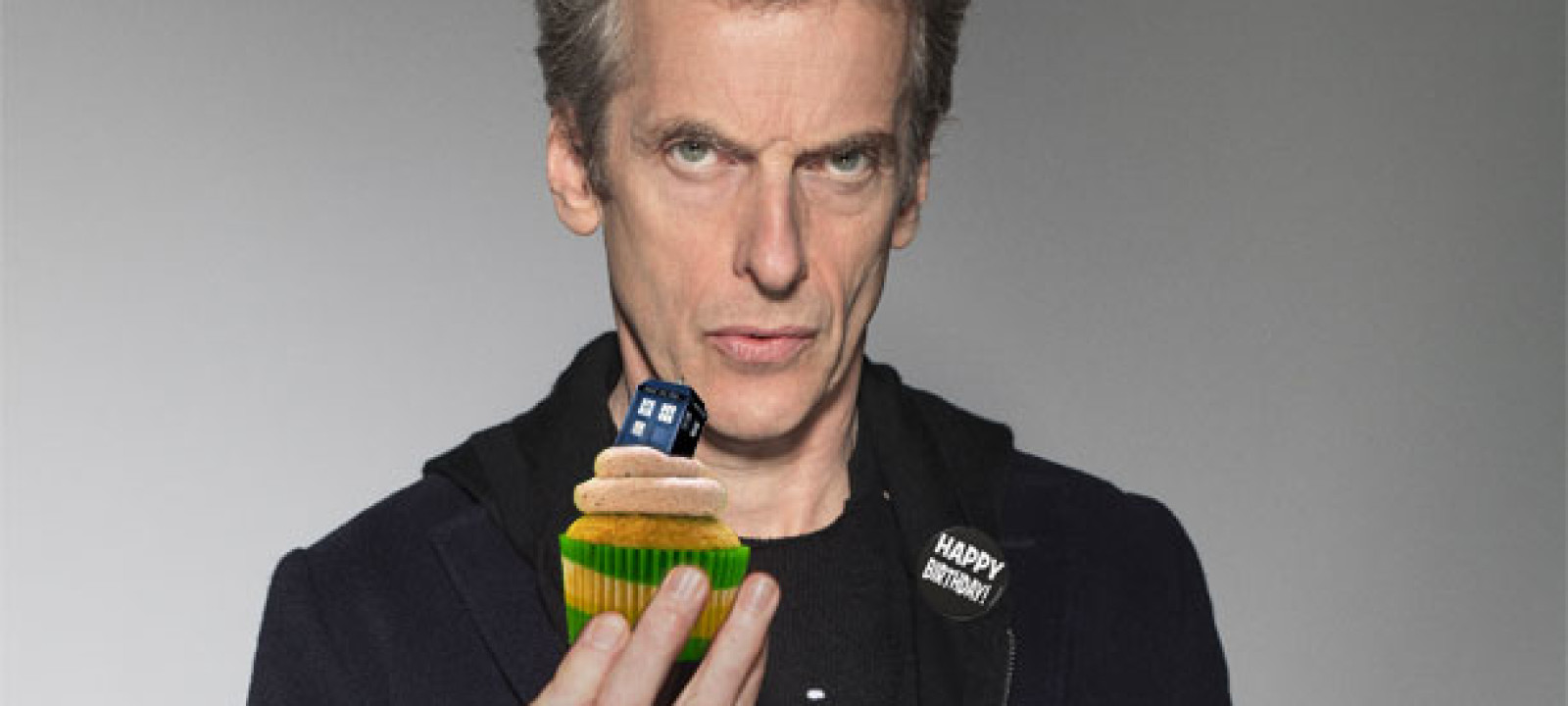 Peter Capaldi and cake (Pic: BBC)