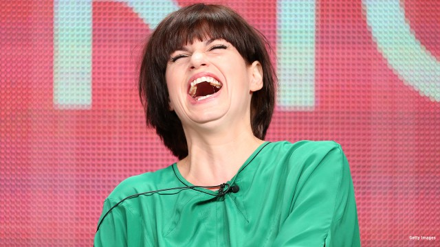 2013: Jemima Rooper gets the giggles at the Television Critics Association tour in Beverly Hills, California.