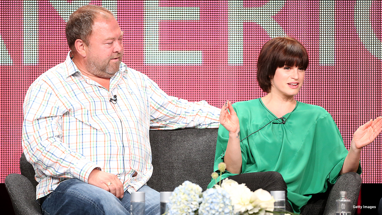 2013: 'Atlantis' costar Mark Addy and Jemima Rooper speak onstage at the Television Critics Association tour in Beverly Hills, California.