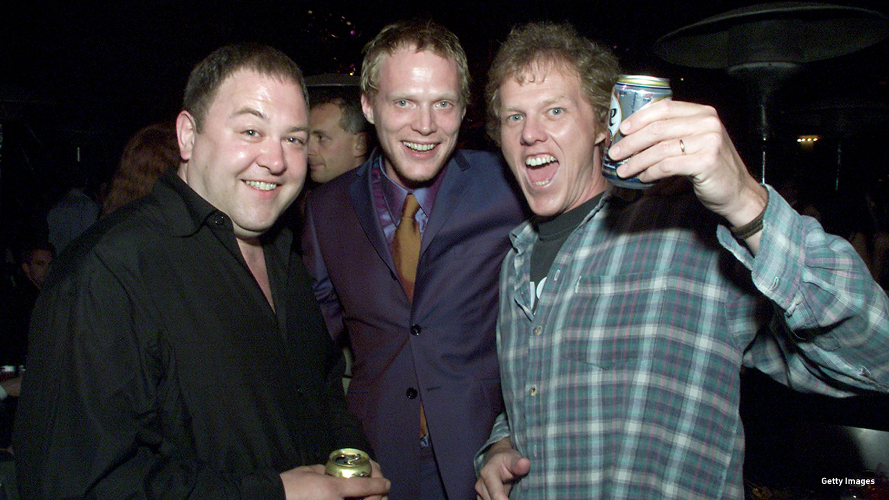 2001: Mark Addy, Paul Bettany and director Brian Helgeland at the 'A Knight's Tale' premiere after party in Los Angeles, California.