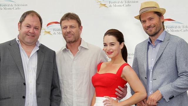 2011: Mark Addy and 'Game of Thrones' costars Sean Bean, Emilia Clark and Nikolaj Coster Waldau at the Monte Carlo Television Festival in Monaco.
