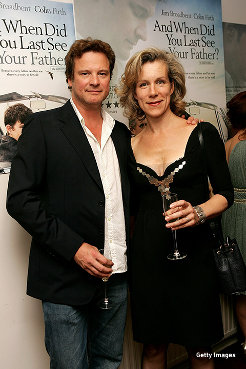 2007: Juliet Stevenson and Colin Firth grab drinks at a private screening of 'And When Did You Last See Your Father' in London.