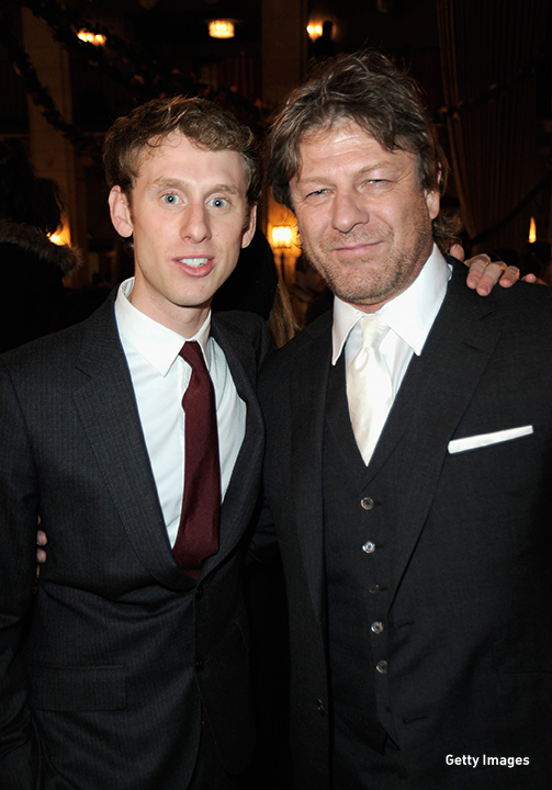 2012: Robert Emms and costar Sean Bean at the 'Mirror Mirror' premiere in Hollywood, California.