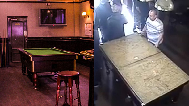 The case of the disappearing pool table. (Facebook)