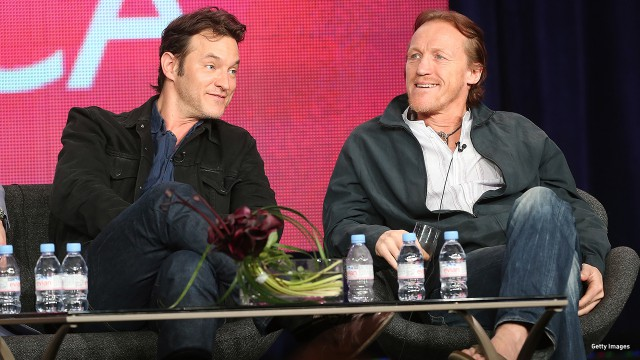 2013: Adam Rothenberg and Jerome Flynn share smirks at the Television Critics Association 'Ripper Street' panel discussion.