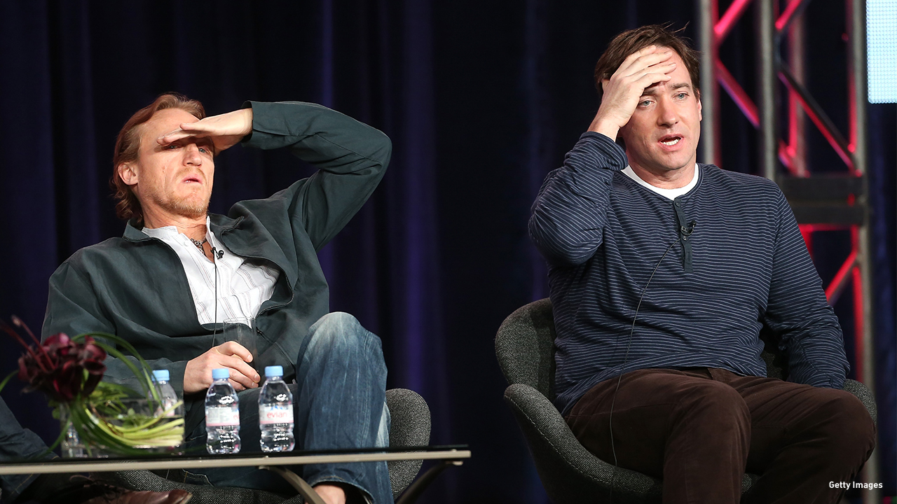 2013: Jerome Flynn and Matthew MacFadyen field questions at the Television Critics Association 'Ripper Street' panel discussion.