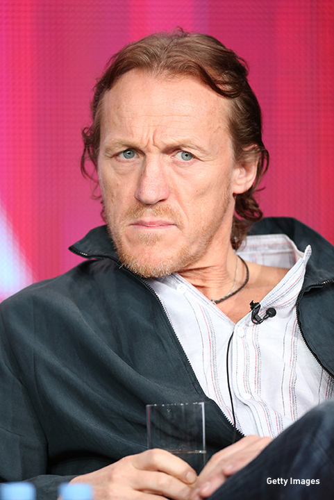 2013: Jerome Flynn mean mugs at the Television Critics Association 'Ripper Street' panel discussion.