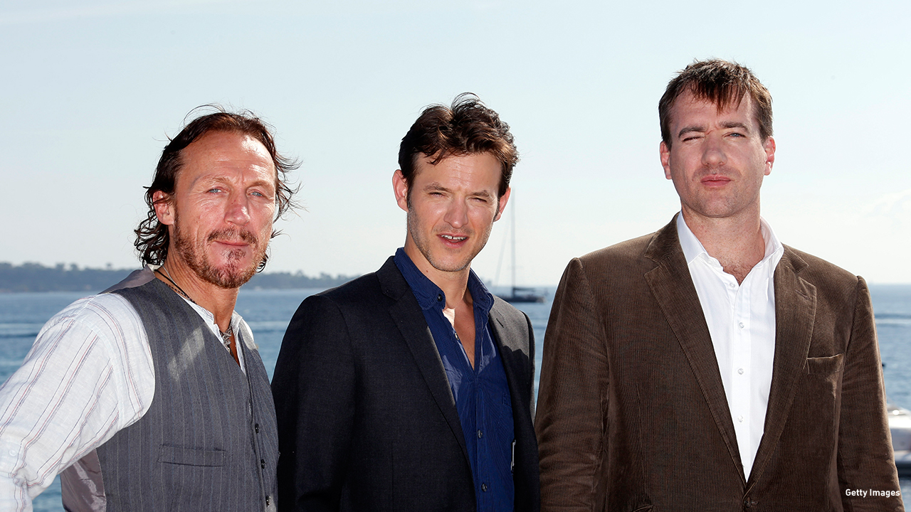 2012: Jerome Flynn, Adam Rothenberg, and Matthew MacFadyen pose for a 'Ripper Street' boys pic in Cannes, France.
