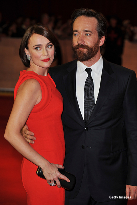 2011: Matthew MacFadyen strikes a pose with wife, actress Keeley Hawes at 'The Three Musketeers' premiere in London.
