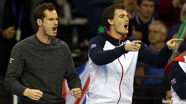 GLASGOW, SCOTLAND - MARCH 06:  Andy Murray and Jamie Murray of The Aegon GB Davis Cup Team encourage  team mate James Ward during Day 1 of the Davis Cup match between GB and USA at Emirates Arena on March 6, 2015 in Glasgow, Scotland.  (Photo by Jan Kruger/Getty Images)