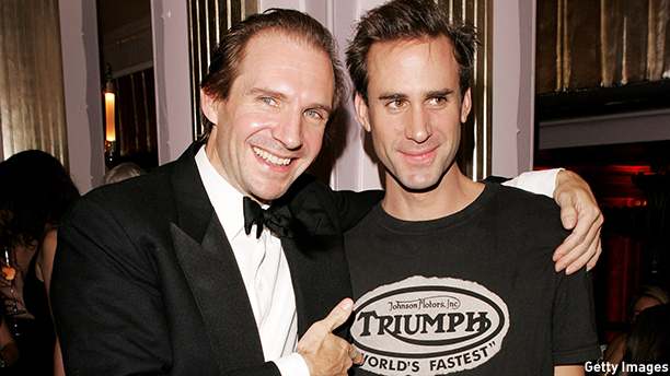 "LONDON - OCTOBER 19:  (UK TABLOID NEWSPAPERS OUT)  Actors and brothers Ralph Fiennes (L) and Joseph Fiennes attend the aftershow party following the ""The Constant Gardener"" Opening Gala for The Times BFI London Film Festival, at the Park Lane Hotel on October 19, 2005 in London, England.  (Photo by Claire Greenway/Getty Images)"