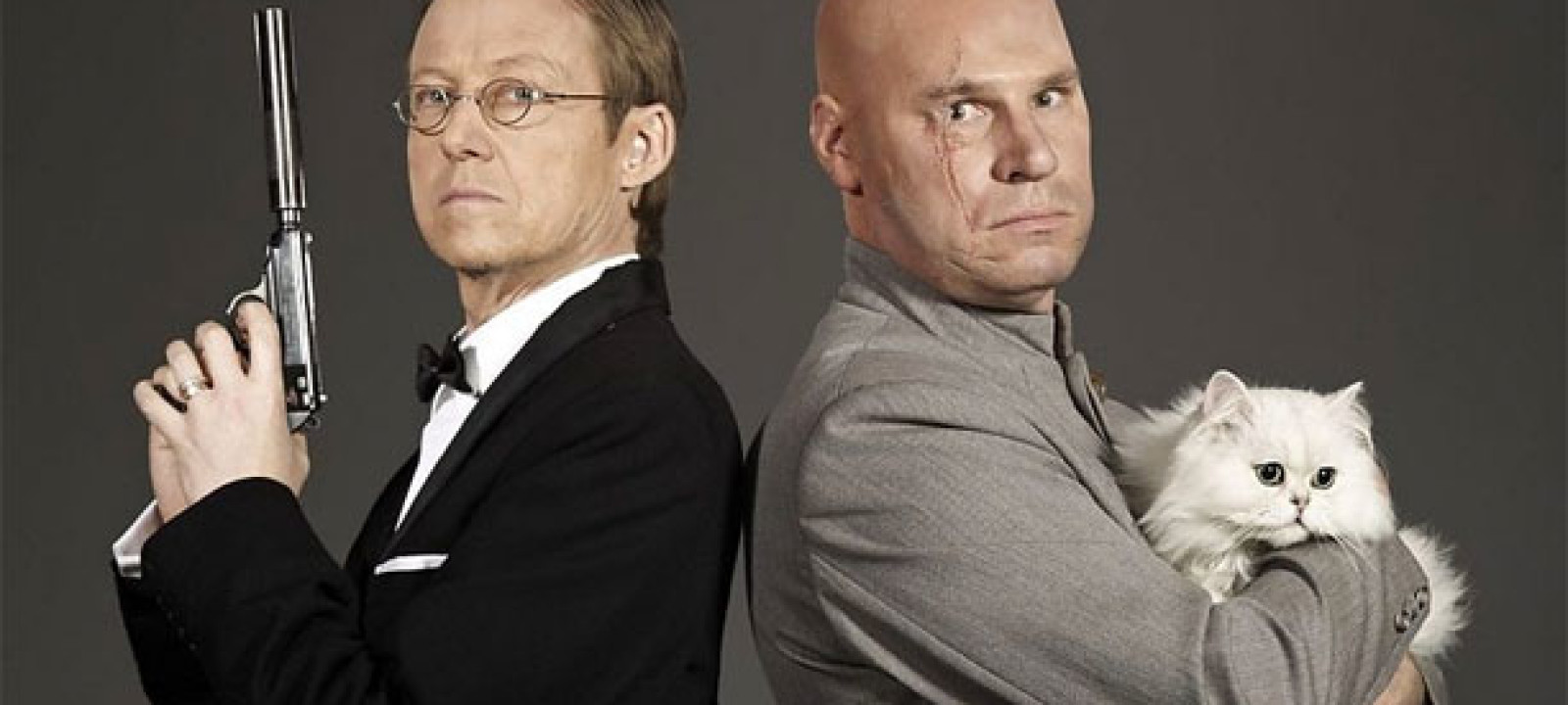 Simon Mayo as James Bond and Mark Kermode as Blofeld in a promotional shot for 'Mark Kermode and Simon Mayo's Film Reviews' (Pic: BBC)