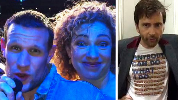 Matt Smith, Alex Kingston and David Tennant (Pics: CelebConn)