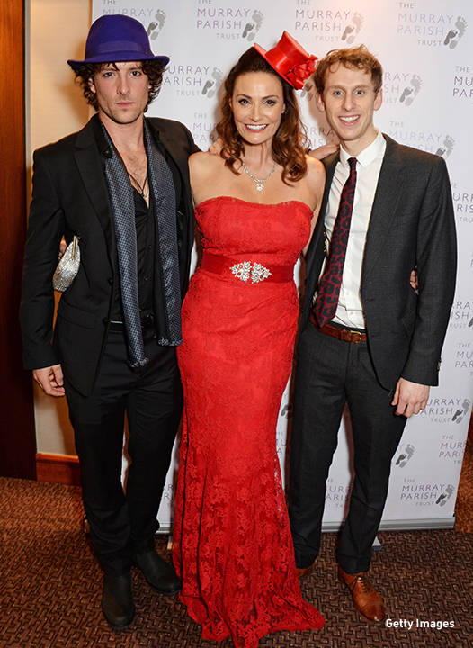 2014: 'Atlantis' costars Jack Donnelly, Sarah Parish and Robert Emms attend 'The Odd Ball' in London.