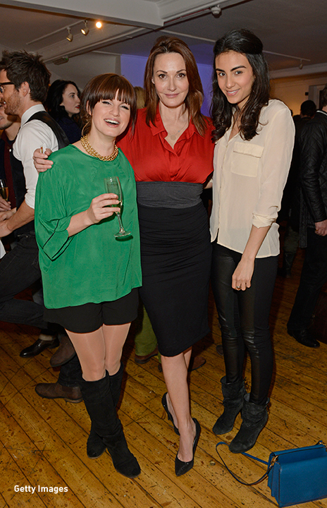 2014: Jemima Rooper, Sarah Parish and Aiysha Hart catch up at the Murray Parish Trust art auction in London.