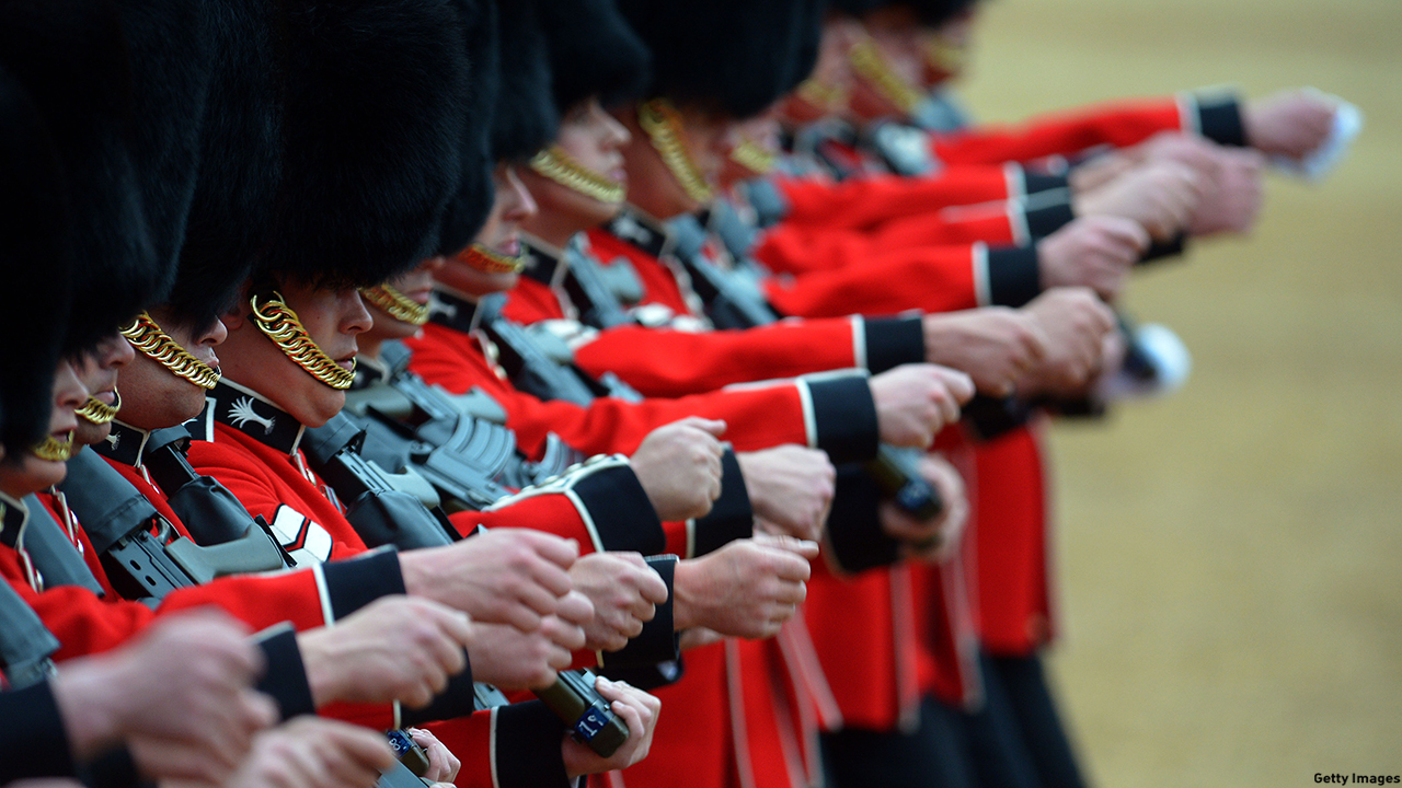 Members of the Royal Guards march during the annual Trooping the Colour ceremony at Horse Guards Parade. (Stuart C. Wilson/Getty Images)