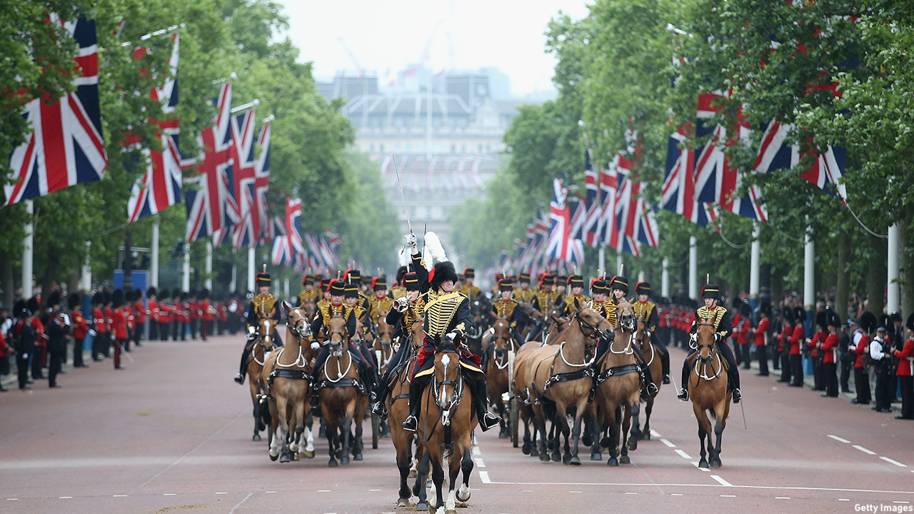 The mounted soldiers advance down the Mall during the Trooping the Colour. (Chris Jackson/Getty Images)