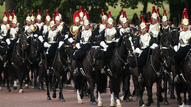 Members of the Household Cavalry Mounted Regiment prepare to march. (Chris Jackson/Getty Images)