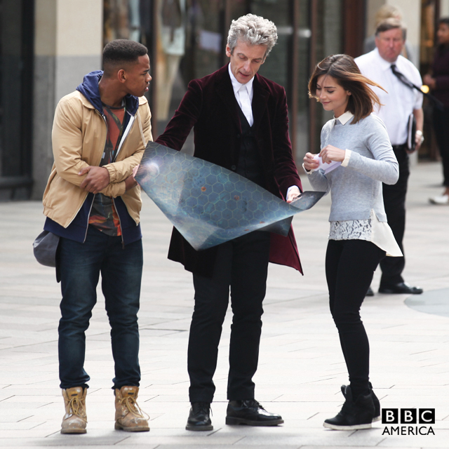 Joivan Wade aka Rigsy is back!  Here he is with Peter Capaldi and Jenna Coleman filming Episode 10.