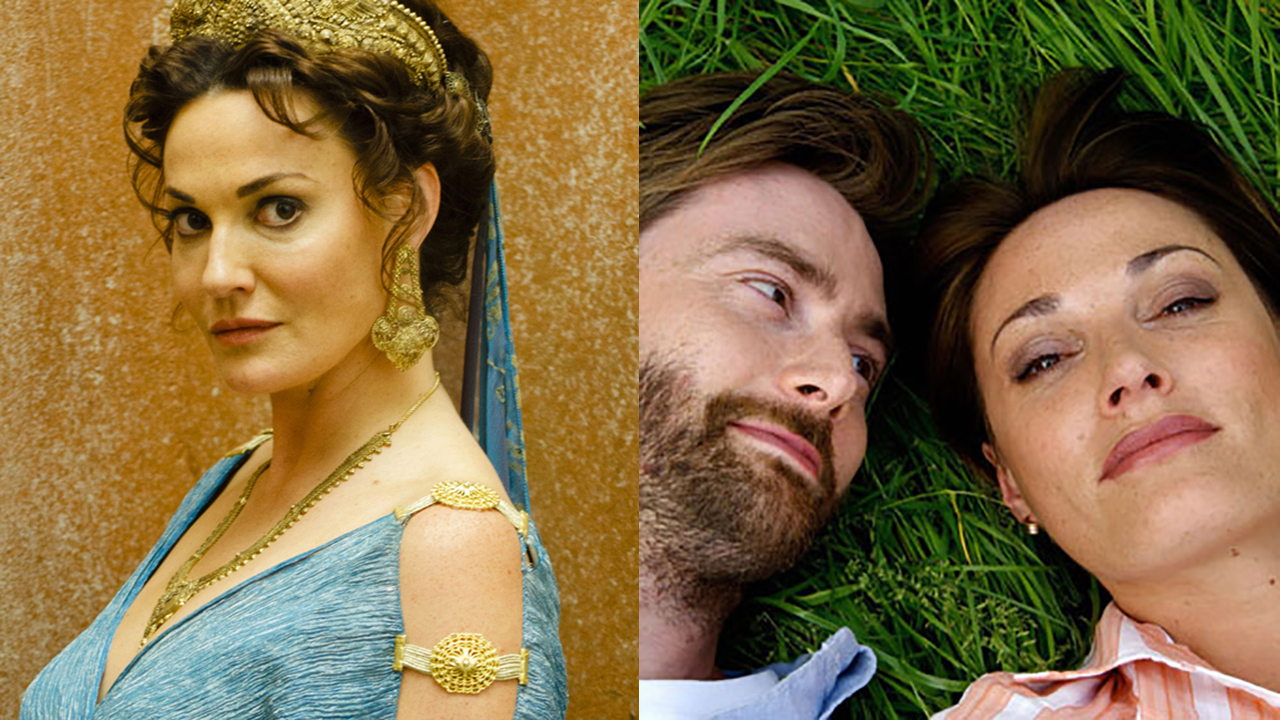 Sarah Parish stars as Pasiphae in Atlantis and as Natalie Holden in Blackpool, opposite David Tennant. (BBCA)