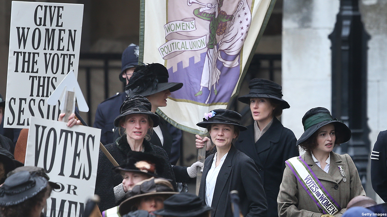 Anne-Marie Duff, Carey Mulligan and Helena Bonham Carter are seen filming at Parliament. (Peter Macdiarmid/Getty Images)