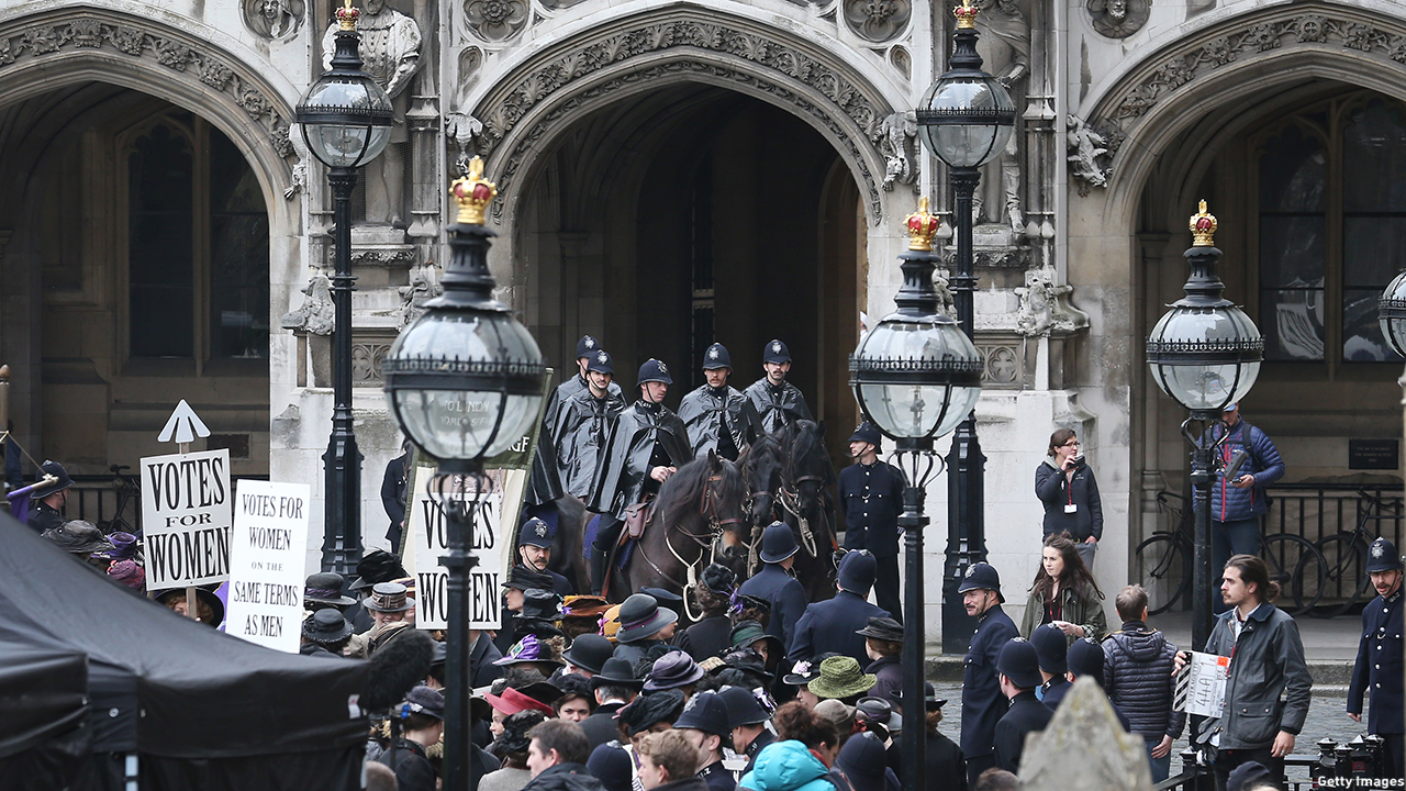 LONDON, ENGLAND - APRIL 11:  Extras take part in filming of the movie Suffragette at Parliament on April 11, 2014 in London, England. This is the first time filming for a movie has been allowed in The Houses of Parliament. Suffragette is due for release in 2015.  (Photo by Peter Macdiarmid/Getty Images)