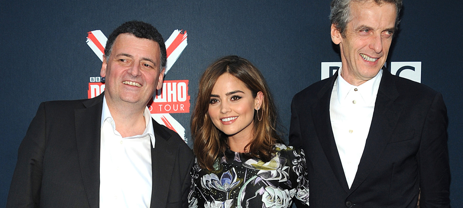 Steven Moffat, Jenna Coleman and Peter Capaldi on the 'Doctor Who' world tour (Pic:  Brad Barket/Getty Images)