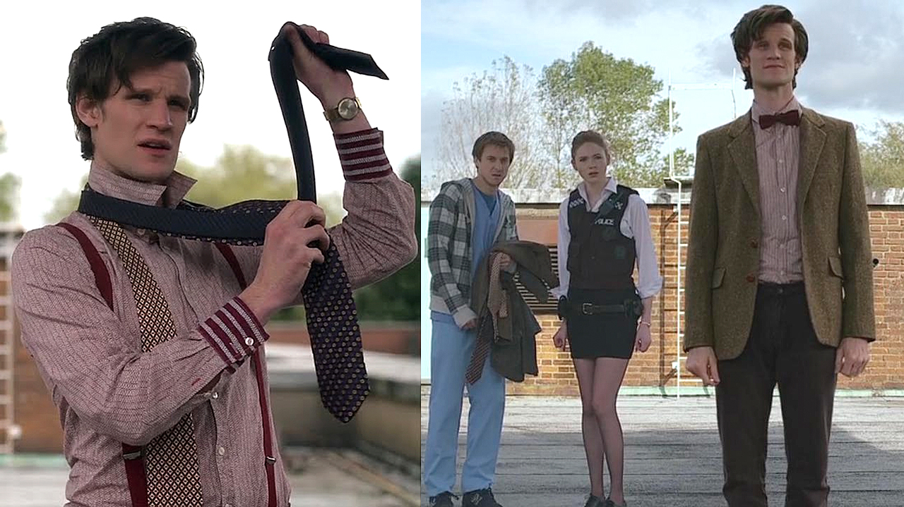 The Doctor and his borrowed clothes in 'The Eleventh Hour' (Pic: BBC)